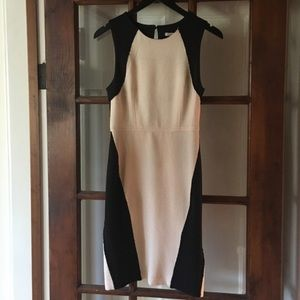 Black & Tan Midi Dress
